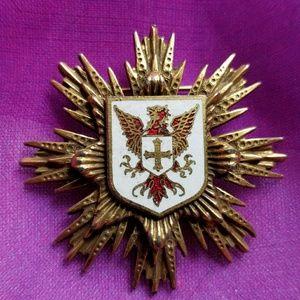 Vintage Griffin crest brooch gold tone pin enamel